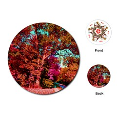 Abstract Fall Trees Saturated With Orange Pink And Turquoise Playing Cards (round)  by Nexatart