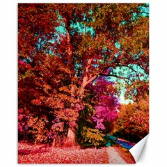 Abstract Fall Trees Saturated With Orange Pink And Turquoise Canvas 16  X 20   by Nexatart