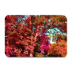 Abstract Fall Trees Saturated With Orange Pink And Turquoise Plate Mats by Nexatart
