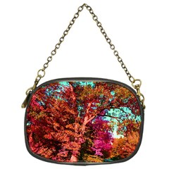 Abstract Fall Trees Saturated With Orange Pink And Turquoise Chain Purses (one Side)  by Nexatart
