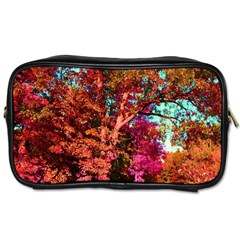 Abstract Fall Trees Saturated With Orange Pink And Turquoise Toiletries Bags 2 Side by Nexatart