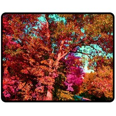 Abstract Fall Trees Saturated With Orange Pink And Turquoise Fleece Blanket (medium)  by Nexatart