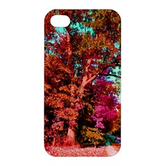 Abstract Fall Trees Saturated With Orange Pink And Turquoise Apple Iphone 4/4s Hardshell Case by Nexatart