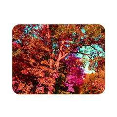 Abstract Fall Trees Saturated With Orange Pink And Turquoise Double Sided Flano Blanket (mini)  by Nexatart