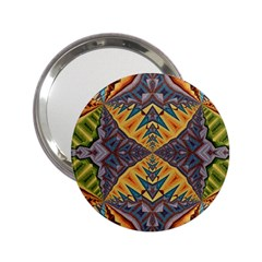 Kaleidoscopic Pattern Colorful Kaleidoscopic Pattern With Fabric Texture 2 25  Handbag Mirrors by Nexatart