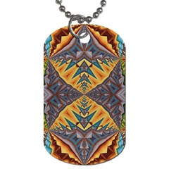 Kaleidoscopic Pattern Colorful Kaleidoscopic Pattern With Fabric Texture Dog Tag (one Side) by Nexatart