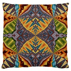 Kaleidoscopic Pattern Colorful Kaleidoscopic Pattern With Fabric Texture Large Cushion Case (two Sides) by Nexatart