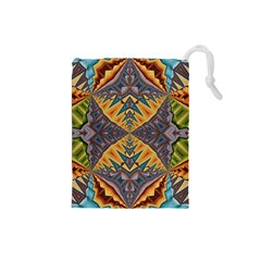 Kaleidoscopic Pattern Colorful Kaleidoscopic Pattern With Fabric Texture Drawstring Pouches (Small)