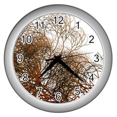 Digitally Painted Colourful Winter Branches Illustration Wall Clocks (silver)  by Nexatart