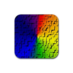 A Creative Colorful Background Rubber Square Coaster (4 Pack)  by Nexatart