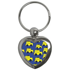 A Fun Cartoon Taxi Cab Tiling Pattern Key Chains (heart)  by Nexatart
