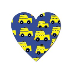 A Fun Cartoon Taxi Cab Tiling Pattern Heart Magnet by Nexatart