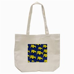 A Fun Cartoon Taxi Cab Tiling Pattern Tote Bag (cream) by Nexatart