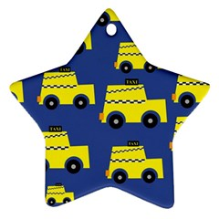 A Fun Cartoon Taxi Cab Tiling Pattern Star Ornament (two Sides) by Nexatart