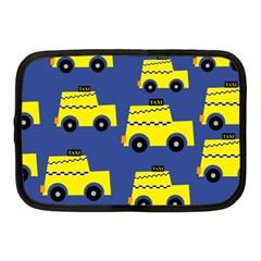 A Fun Cartoon Taxi Cab Tiling Pattern Netbook Case (medium)  by Nexatart