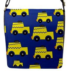 A Fun Cartoon Taxi Cab Tiling Pattern Flap Messenger Bag (s) by Nexatart