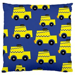 A Fun Cartoon Taxi Cab Tiling Pattern Standard Flano Cushion Case (one Side) by Nexatart