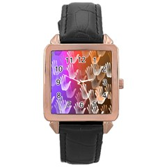 Clipart Hands Background Pattern Rose Gold Leather Watch  by Nexatart