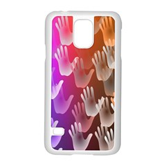 Clipart Hands Background Pattern Samsung Galaxy S5 Case (white) by Nexatart
