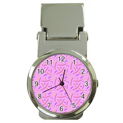 Confetti Background Pattern Pink Purple Yellow On Pink Background Money Clip Watches by Nexatart