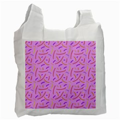 Confetti Background Pattern Pink Purple Yellow On Pink Background Recycle Bag (two Side)  by Nexatart