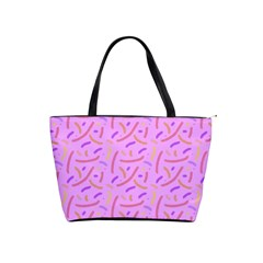 Confetti Background Pattern Pink Purple Yellow On Pink Background Shoulder Handbags by Nexatart