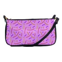 Confetti Background Pattern Pink Purple Yellow On Pink Background Shoulder Clutch Bags by Nexatart