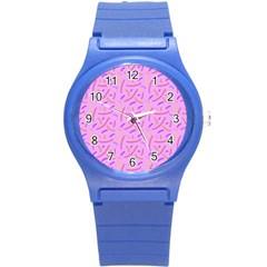 Confetti Background Pattern Pink Purple Yellow On Pink Background Round Plastic Sport Watch (s) by Nexatart