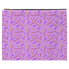 Confetti Background Pattern Pink Purple Yellow On Pink Background Cosmetic Bag (xxxl)  by Nexatart