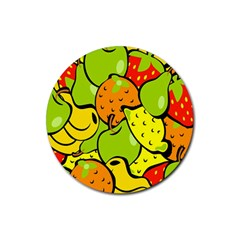 Digitally Created Funky Fruit Wallpaper Rubber Coaster (round)  by Nexatart