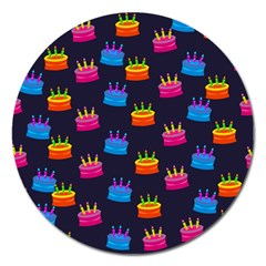 A Tilable Birthday Cake Party Background Magnet 5  (round) by Nexatart