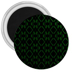 Green Black Pattern Abstract 3  Magnets by Nexatart