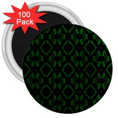 Green Black Pattern Abstract 3  Magnets (100 Pack) by Nexatart