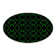 Green Black Pattern Abstract Oval Magnet by Nexatart