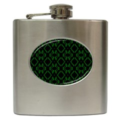Green Black Pattern Abstract Hip Flask (6 Oz) by Nexatart