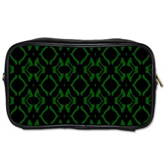 Green Black Pattern Abstract Toiletries Bags 2 Side by Nexatart