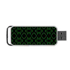 Green Black Pattern Abstract Portable Usb Flash (two Sides) by Nexatart