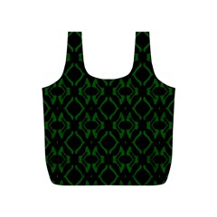 Green Black Pattern Abstract Full Print Recycle Bags (s)  by Nexatart