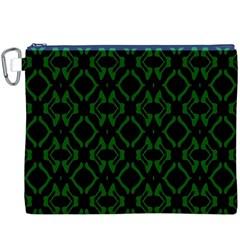 Green Black Pattern Abstract Canvas Cosmetic Bag (xxxl) by Nexatart