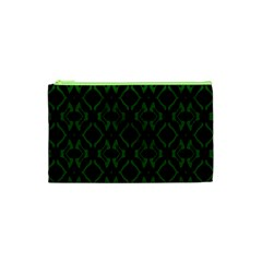 Green Black Pattern Abstract Cosmetic Bag (xs) by Nexatart