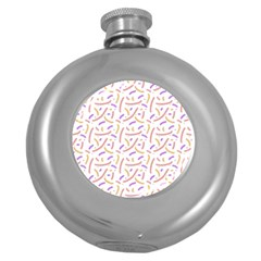 Confetti Background Pink Purple Yellow On White Background Round Hip Flask (5 Oz) by Nexatart