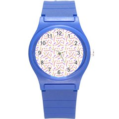 Confetti Background Pink Purple Yellow On White Background Round Plastic Sport Watch (s) by Nexatart