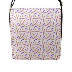 Confetti Background Pink Purple Yellow On White Background Flap Messenger Bag (l)  by Nexatart