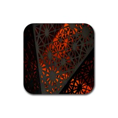 Abstract Lighted Wallpaper Of A Metal Starburst Grid With Orange Back Lighting Rubber Coaster (square)  by Nexatart