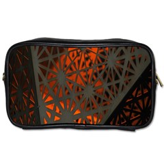 Abstract Lighted Wallpaper Of A Metal Starburst Grid With Orange Back Lighting Toiletries Bags 2 Side by Nexatart