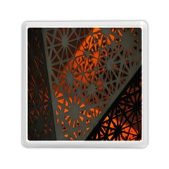 Abstract Lighted Wallpaper Of A Metal Starburst Grid With Orange Back Lighting Memory Card Reader (square)  by Nexatart