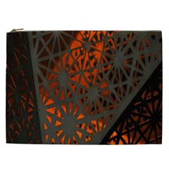 Abstract Lighted Wallpaper Of A Metal Starburst Grid With Orange Back Lighting Cosmetic Bag (xxl)  by Nexatart