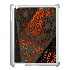Abstract Lighted Wallpaper Of A Metal Starburst Grid With Orange Back Lighting Apple Ipad 3/4 Case (white) by Nexatart