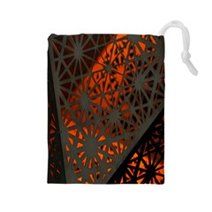 Abstract Lighted Wallpaper Of A Metal Starburst Grid With Orange Back Lighting Drawstring Pouches (large)  by Nexatart