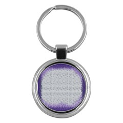 Purple Square Frame With Mosaic Pattern Key Chains (round)  by Nexatart